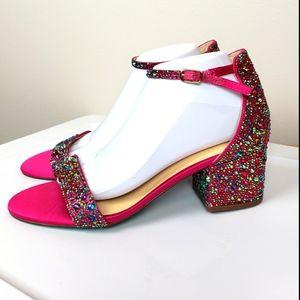 Betsey Johnson Mari Multicolor rhinestone heels